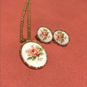 Vintage Pink Rose Necklace & Earrings *Host Pick*